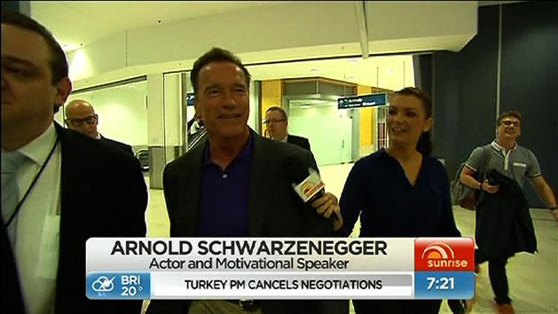 Schwarzenegger arrives in Sydney
