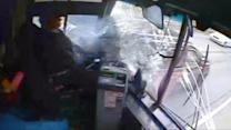 Runaway Bus Crash Caught on Tape After Driver Falls Asleep