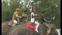 Ladyboys play elephant polo in Thailand