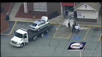 Aerial footage of car's crash into Friendly's building