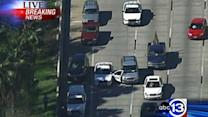 Chase suspect takes out police cruiser door