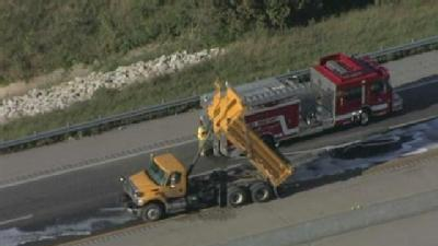 Oil Spill Shuts Down I-35 In Claycomo