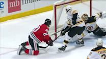 Rask denies Saad's one-timer off dish from Kane