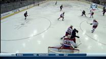 Cam Atkinson spins and fires puck past Holtby