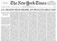 New York Times devotes entire front page to names of coronavirus victims as death toll nears 100,000