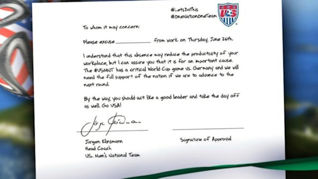 US Soccer Offers 'Get Out of Work' Letter