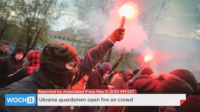 Ukraine Guardsmen Open Fire On Crowd