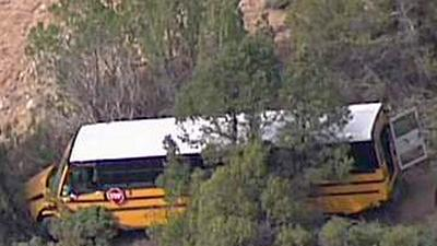 Raw: N.M. School Bus Crashes Into Embankment
