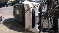 Smart car flipping is the new cow tipping in San Francisco?