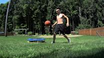 Awesome multi-skilled basketball trick shot