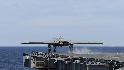 Raw: Navy Completes 1st Unmanned Carrier Landing
