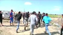 Blood spills at Palestinian protest