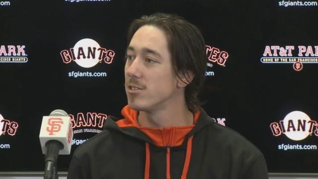 Raw Video: Tim Lincecum, Hector Sanchez After No-Hitter