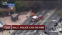 Baltimore police car set on fire
