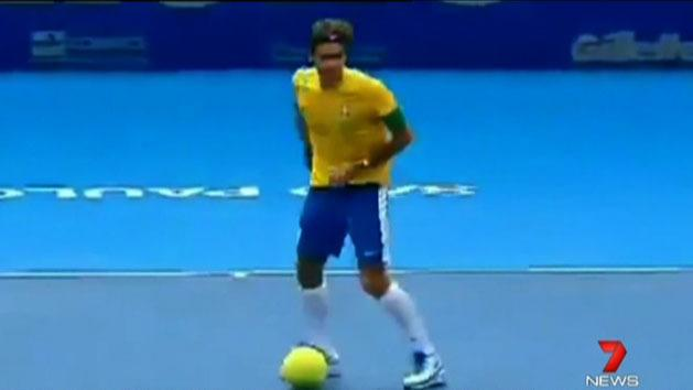 Federer wows crowd in Brazil