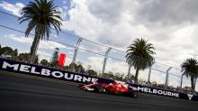 Fans surround track on cool down lap at Australian Grand Prix