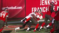 Tampa Bay Buccaneers quarterback Josh McCown sacked in the end zone for a safety