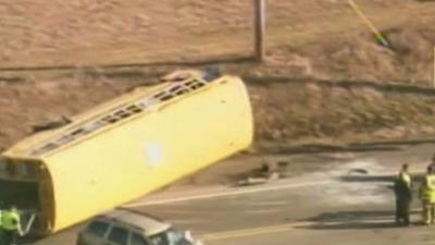 Raw: School Bus Crash Outside Chicago