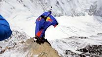 Daredevil base jumps from Everest's North Face