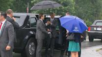 Oops! Umbrella Closes on President Obama's Head