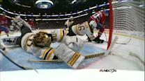 Tuukka Rask dives back for unreal stick save
